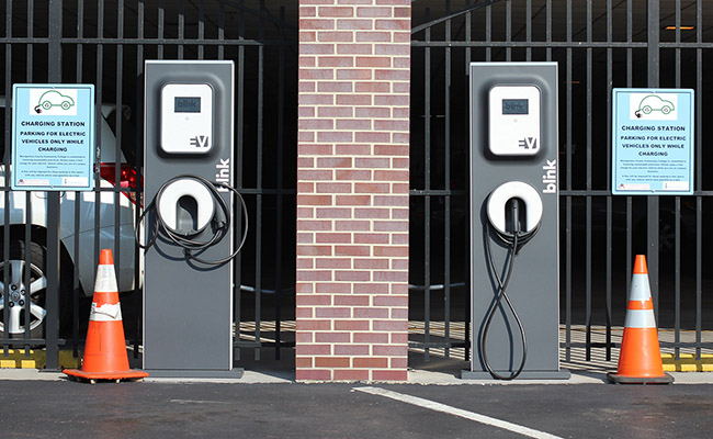 Electric vehicle chargers in the South Hall parking lot in Pottstown. Photo by Alana J. Mauger