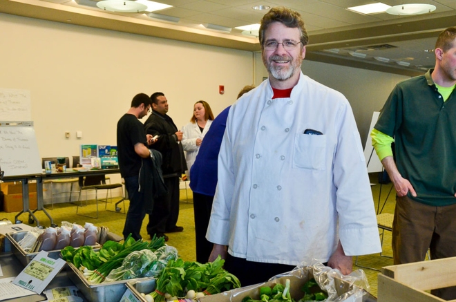 Chef and Cafeteria Manager Dave Green hosted a Farmers Market on Earth Day. Photo by Matt Carlin