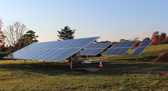 Solar panels, mid-installation. Photo by Alana J. Mauger