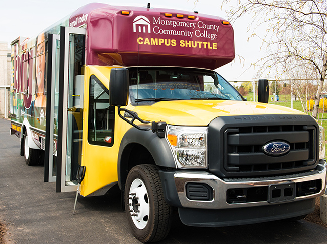 The campus shuttle pictured above can now be tracked using GPS technology.