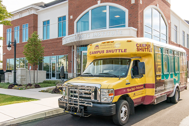 The College's transportation shuttle outside of the Culinary Arts Institute in Lansdale. Photo by Sandi Yanisko