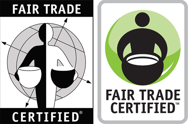 Look for one of these symbols on a product package to know if it's certified fair trade.
